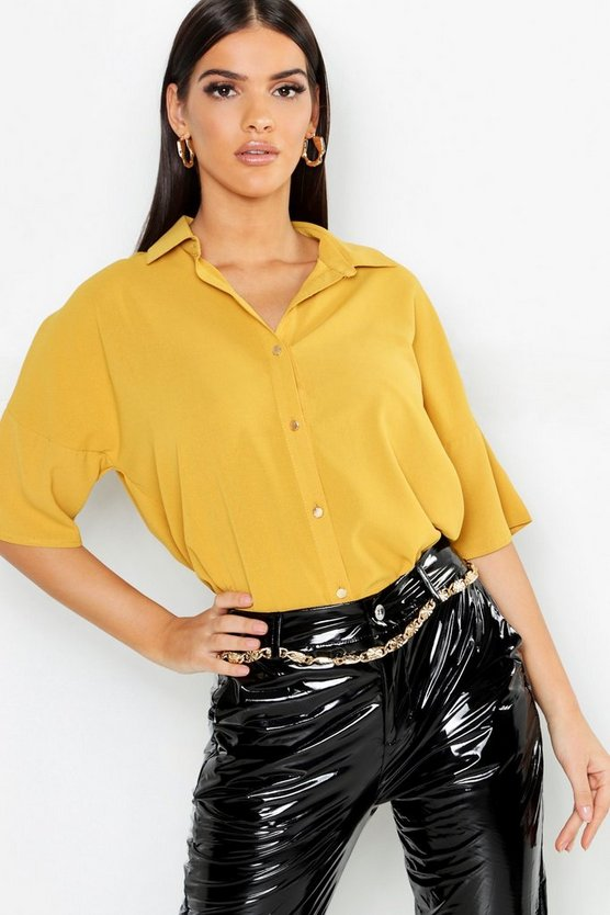 Womens Mustard Woven Button Down Blouse