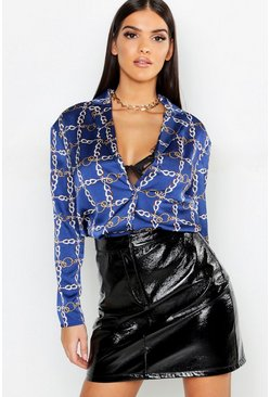 Womens Blue Grid Chain Print Plunge Blouse