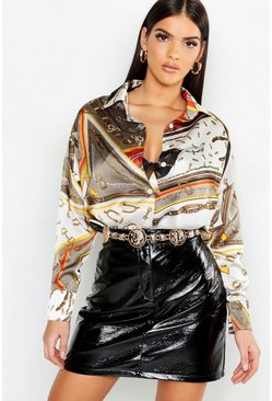 Womens Stone Chain Print Oversized Satin Shirt
