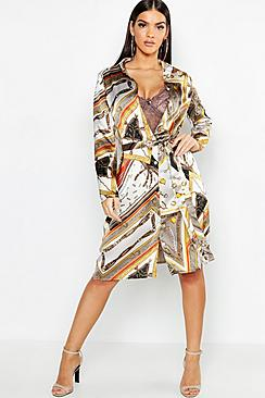 Chain Print Belted Woven Shirt Dress