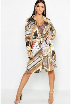 Womens Stone Chain Print Belted Woven Shirt Dress