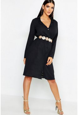 Womens Black Woven Belted Shirt Dress