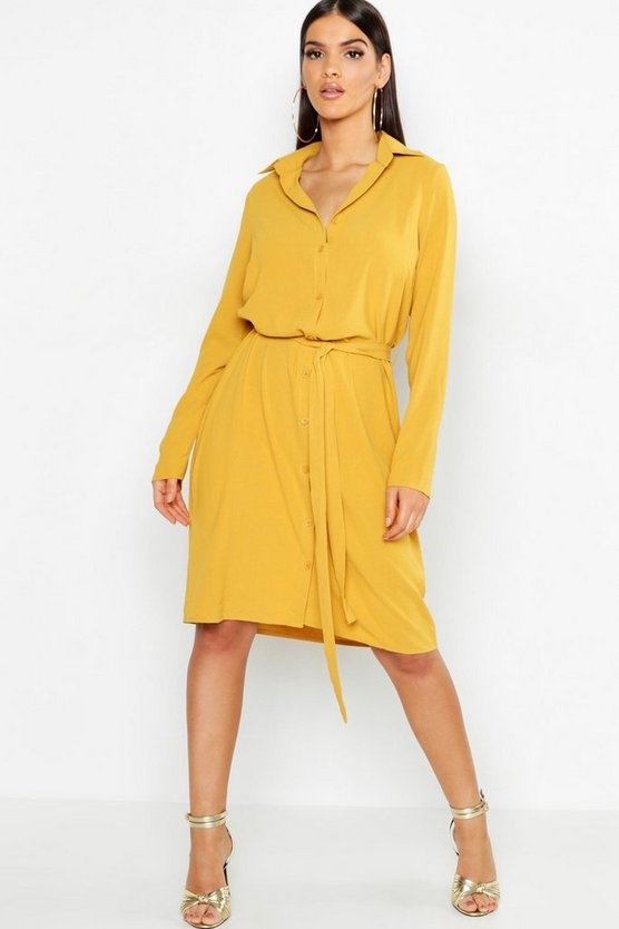Womens Mustard Woven Belted Shirt Dress