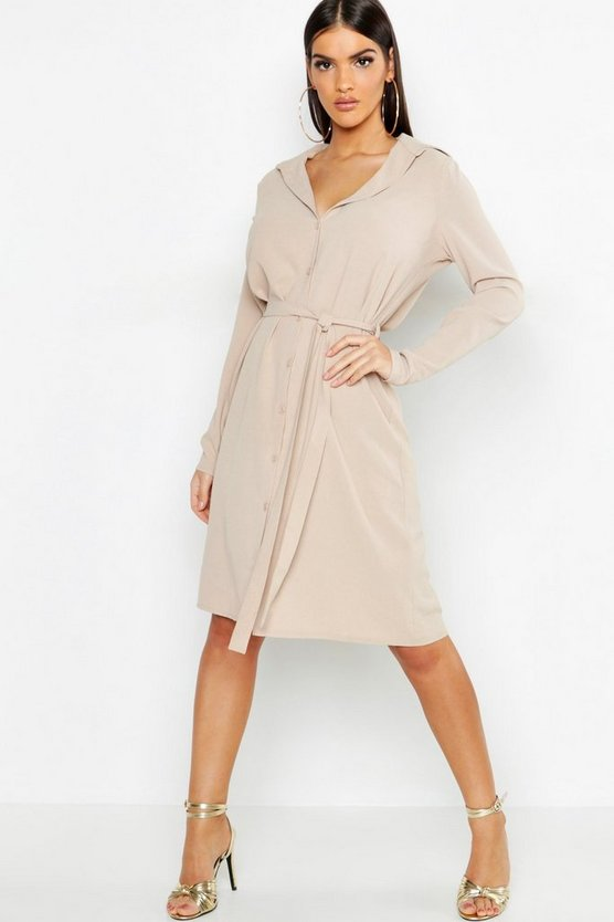 Woven Belted Shirt Dress