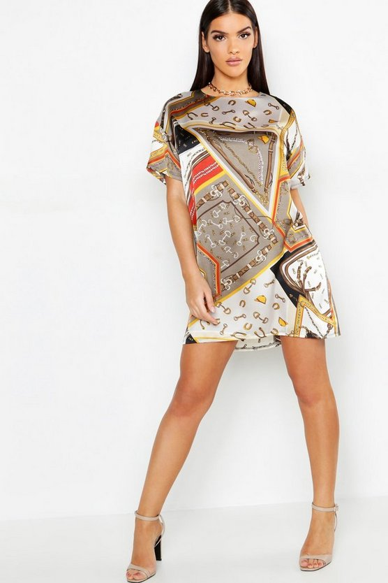 Satin Chain Print Woven Shift Dress