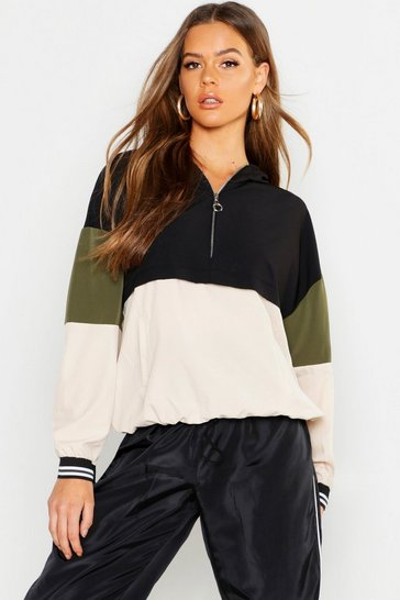 Womens Stone Woven Colour Block Ring Puller Hooded Sweat