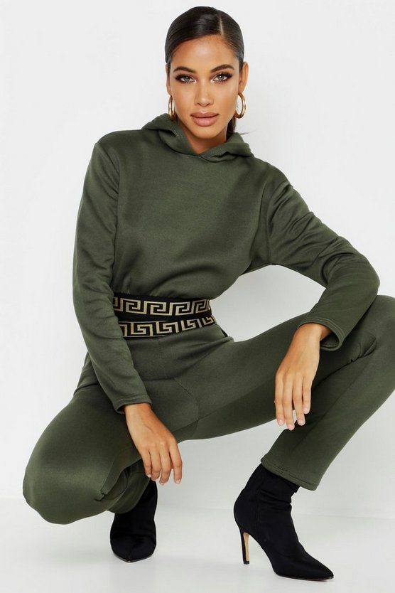 Womens Khaki Aztec Tape Hoody Co-Ord Set