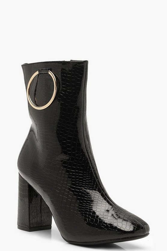 Croc Ring Detail Block Heel Boots