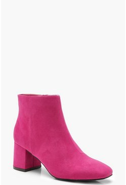 Womens Pink Block Heel Shoe Boots