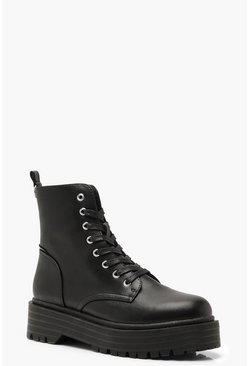 Black Chunky Sole Lace Up Combat Boots