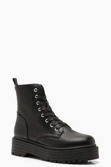 Womens Black Chunky Sole Lace Up Hiker Boots