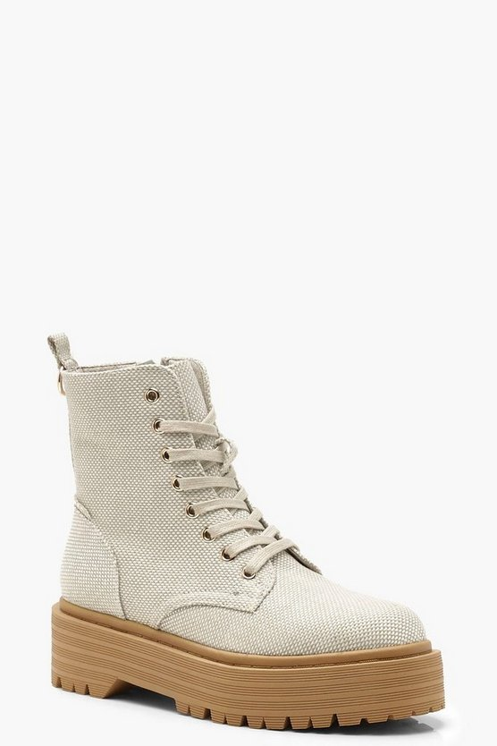 Womens Beige Lace Up Hiker Boots