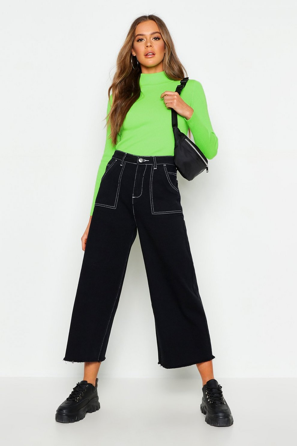 e0bfbd5c8e6f Womens Black High Rise Contrast Stitch Wide Leg Jeans
