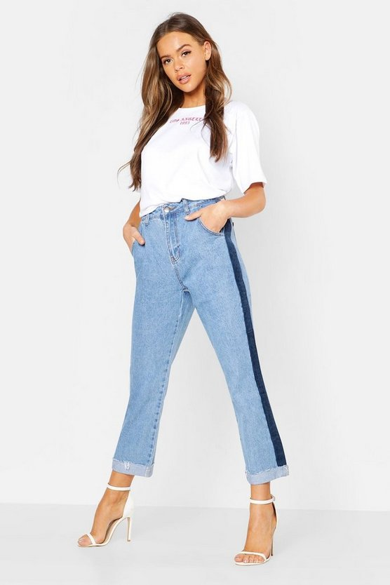 Womens Mid blue High Rise Cord Stripe Side Cuff Straight Jeans