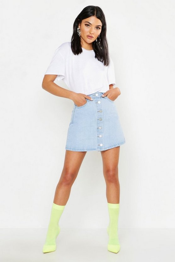 Womens Light blue Button Front Denim Mini Skirt