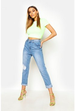 Mid blue Distressed Straight Leg High Rise Jeans