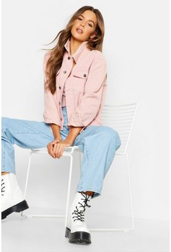 Womens Mixed Cord Pink Denim Jacket