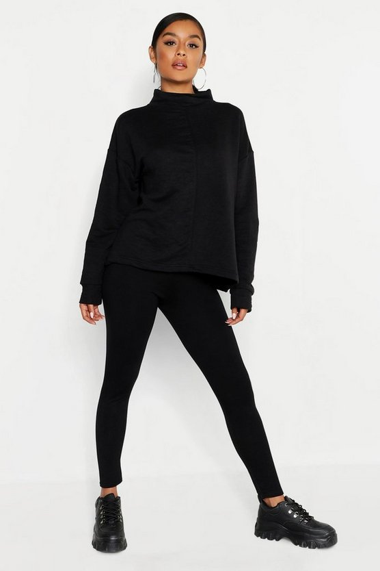 Womens Black Funnel Neck Seam Front Oversized Sweat