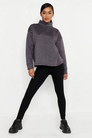 Womens Charcoal Funnel Neck Seam Front Oversized Sweat