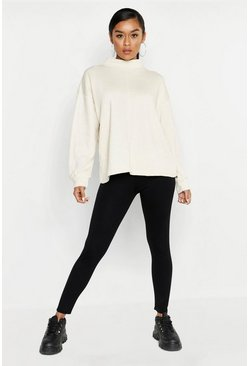 Womens Ecru Funnel Neck Seam Front Oversized Sweat