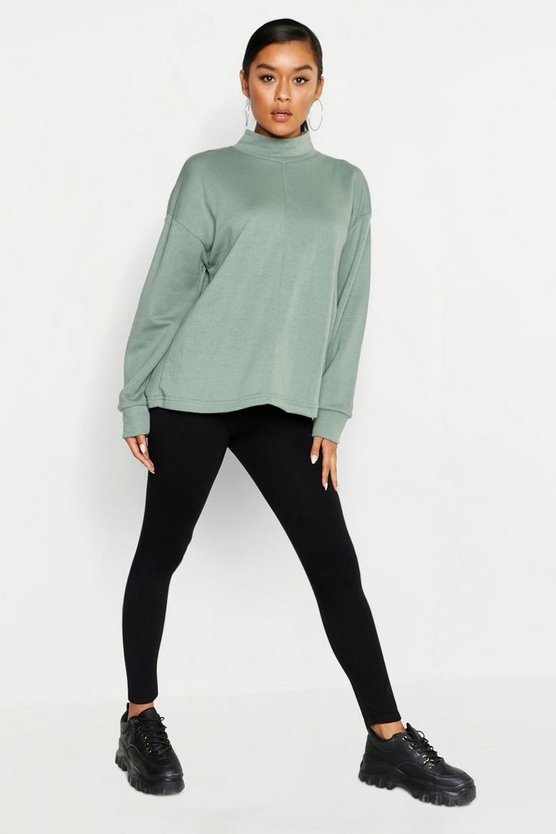 Womens Sage Funnel Neck Seam Front Oversized Sweat