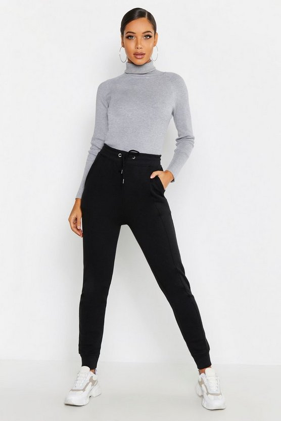 Womens Black Seam Front Detail Cuff Jogger