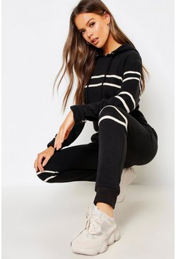 Womens Black Tape Hooded Sweat Top & Jogger Set
