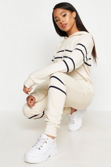 Womens Ecru Tape Hooded Sweat Top & Jogger Set
