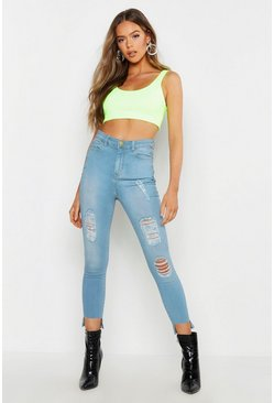 Womens Light blue High Waist Power Stretch Step Hem Skinny Jean
