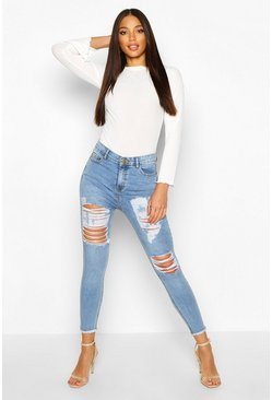 Mid blue Power stretch skinny jeans med hög midja