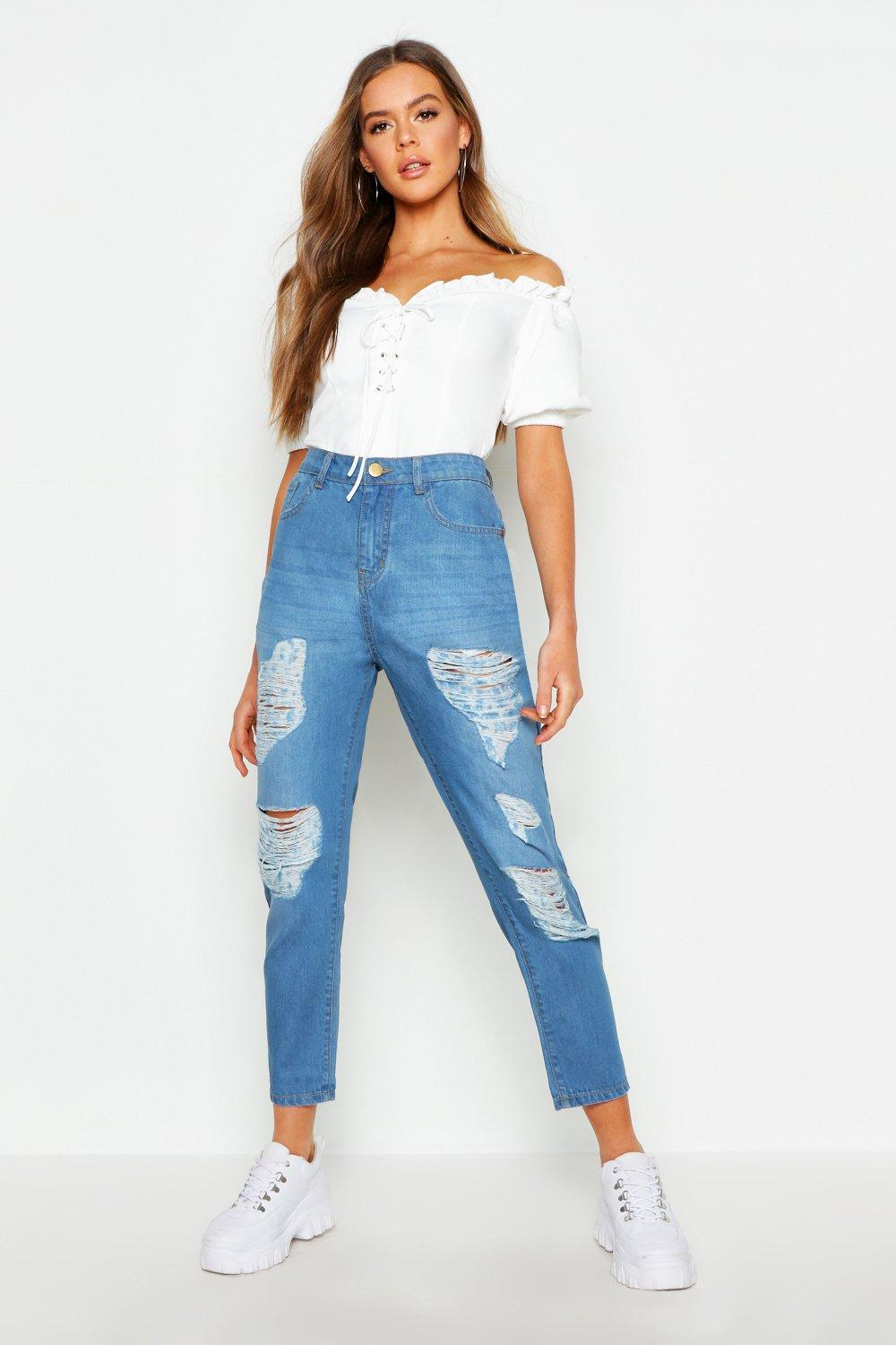 Mid Rise All Over Rip Boyfriend Jeans