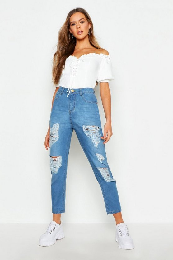 Womens Light blue Mid Rise All Over Rip Boyfriend Jeans