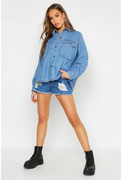 Womens Blue Super Oversized Mock Horn Denim Shirt