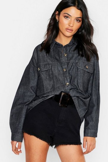 Womens Washed black Super Oversized Mock Horn Denim Shirt