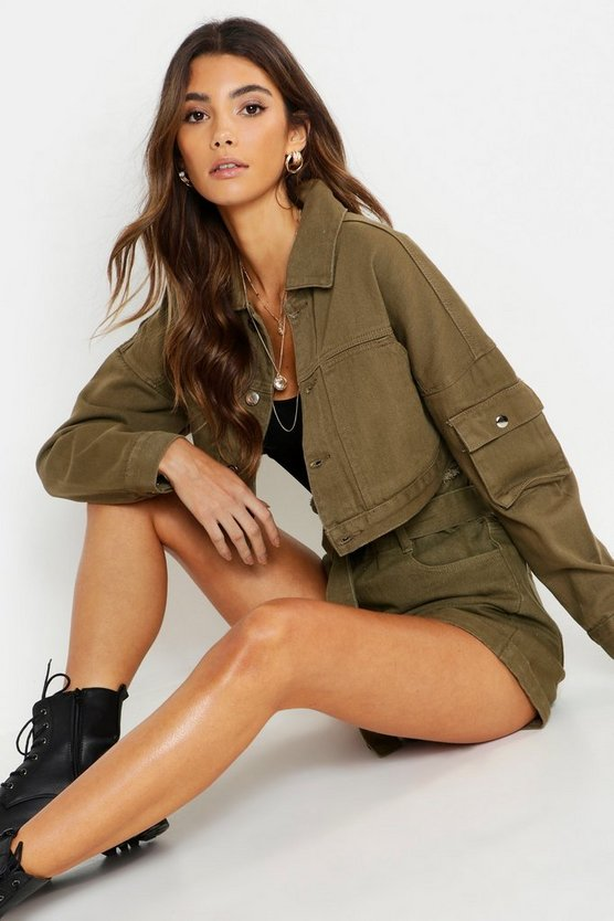 Womens Khaki Utility Pocket Crop Denim Jacket