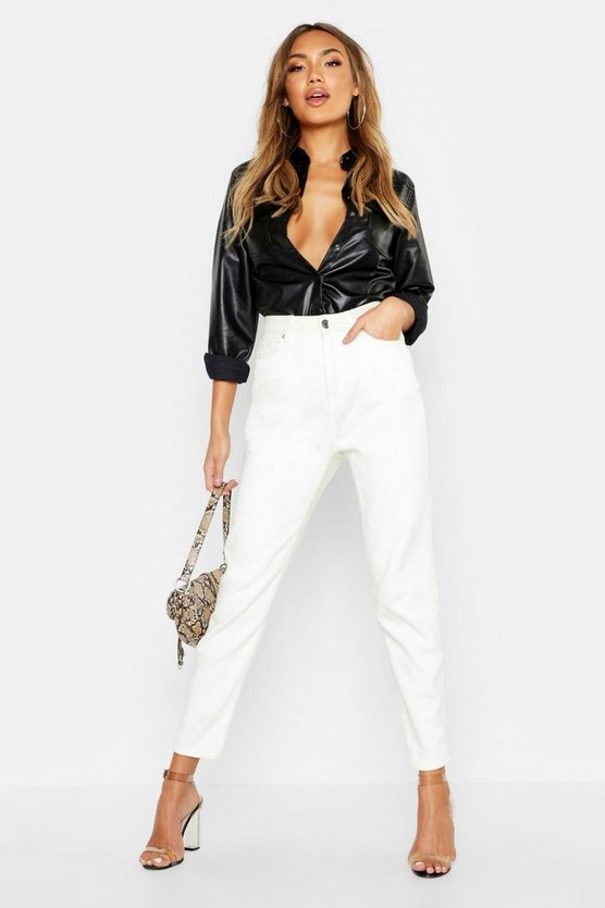 Womens Ecru Cord Front High Waist Mom Jeans