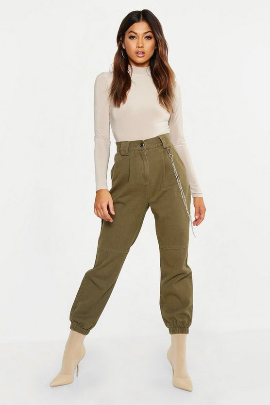 Womens Khaki High Rise Utility Pocket Cargo Jeans
