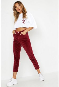 Womens Red High Waist Cord Straight Jeans