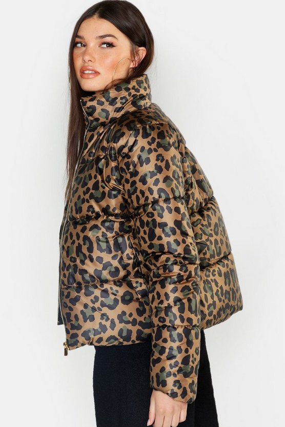 Womens Brown Leopard Print Puffer