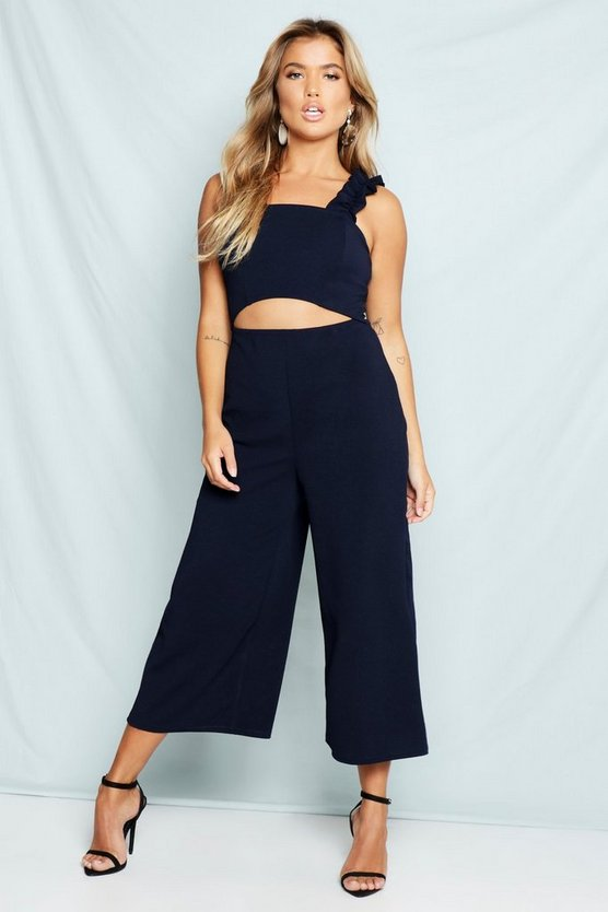 Womens Navy Ruffle Strap Cut Out Culotte Jumpsuit