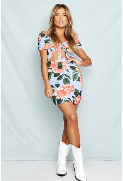 Womens Blue Off The Shoulder Floral Bodycon Dress