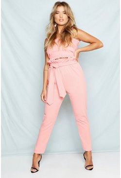 Womens Coral Belted High Waist Tapered Trousers