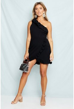 Womens Black One Shoulder Frill Detail Bodycon Dress