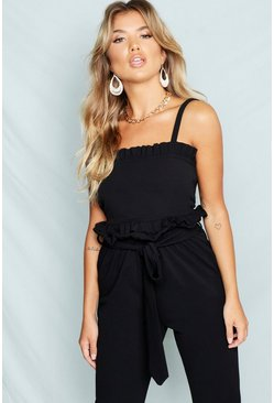 Womens Black Frill Edge Square Neck Crop Top