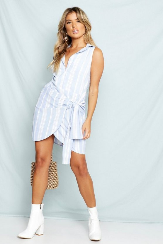Womens Blue Stripe Tie Waist Sleeveless Shirt Dress