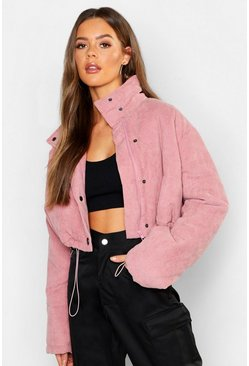 Womens Rust pink Cord Puffer Jacket