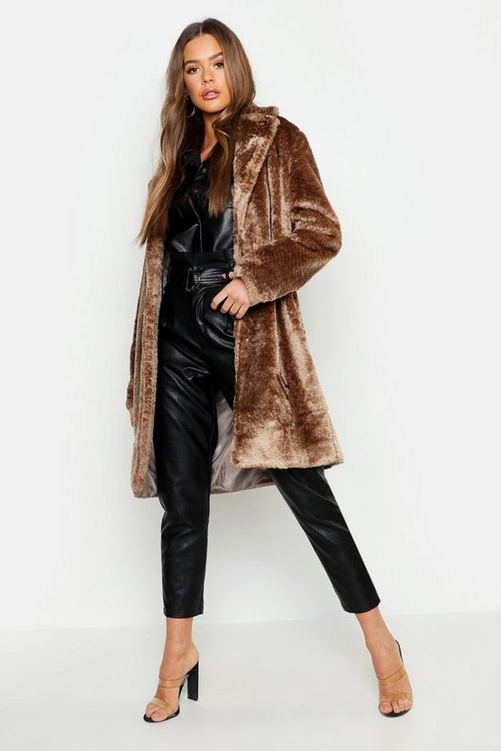 Womens Camel Collared Textured Faux Fur Coat