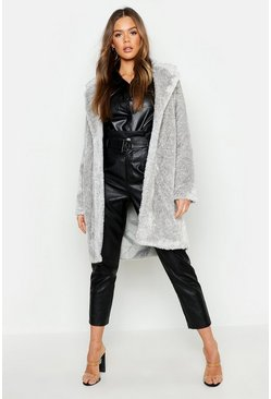 Womens Grey Collared Textured Faux Fur Coat