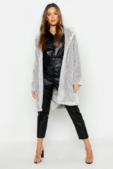 Womens Collared Textured Faux Fur Coat