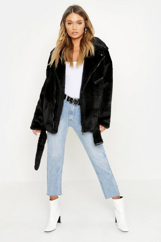 Black Oversized Textured Faux Fur Aviator